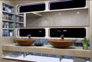 double lavabo en bois