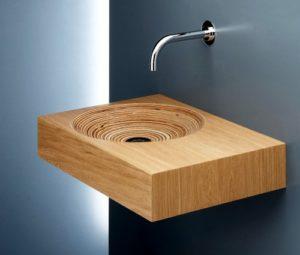 lavabo en bois clair salle de bain