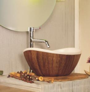lavabo en bois forme bassine